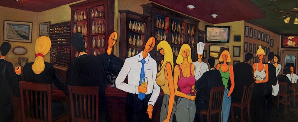 Painting of Pizzaioli bar by Marqués de Jadraque