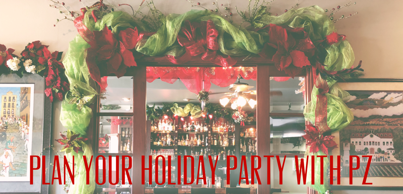 Christmas decorations around the doorway, full bourbon bar in the background, message saying plan your party at PZ