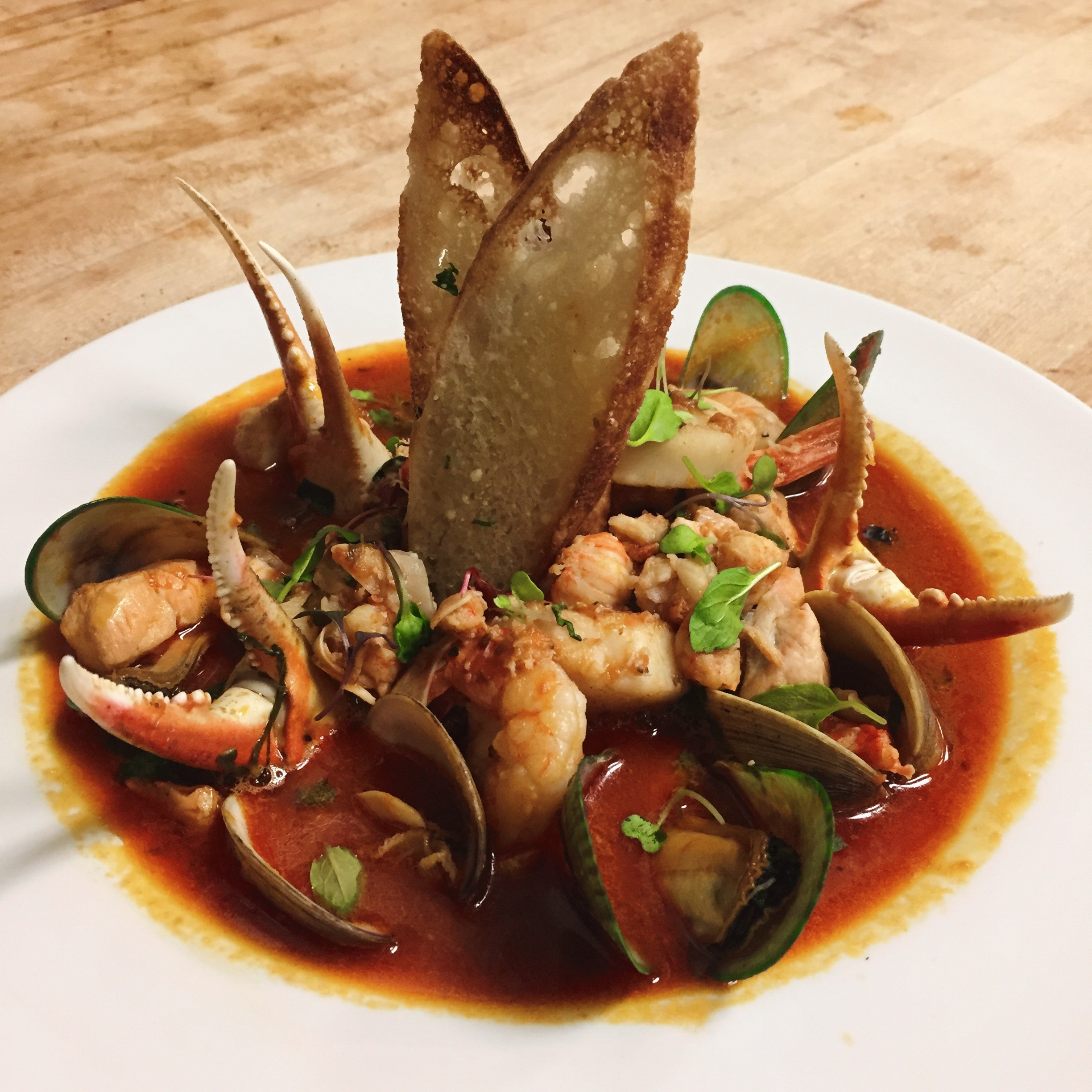 Shrimp, clams, crab claws, fresh catch of the day in a tomato brodetto, with toasted crostini