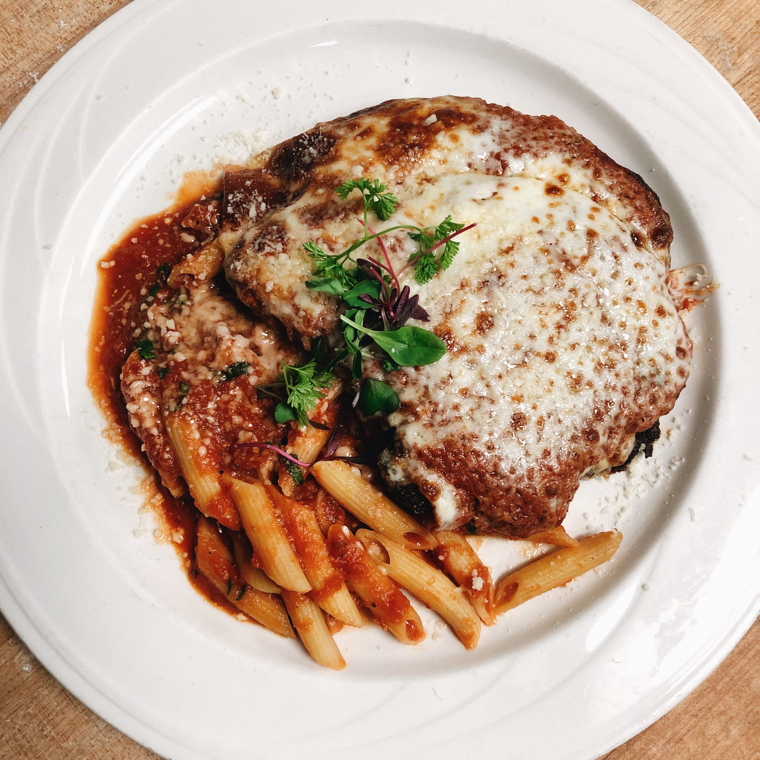 Breaded Chicken Breast, mozzarella cheese, penne pasta, marinara sauce.